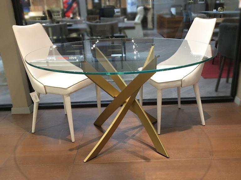 Bontempi Barone Table Round Transparent Glass Gold Finish