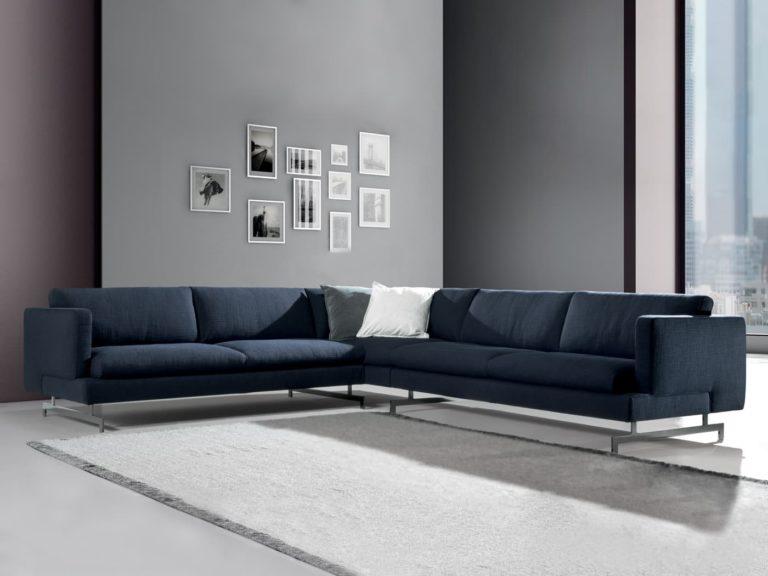 natuzzi italia jeremy sectional blue fabric