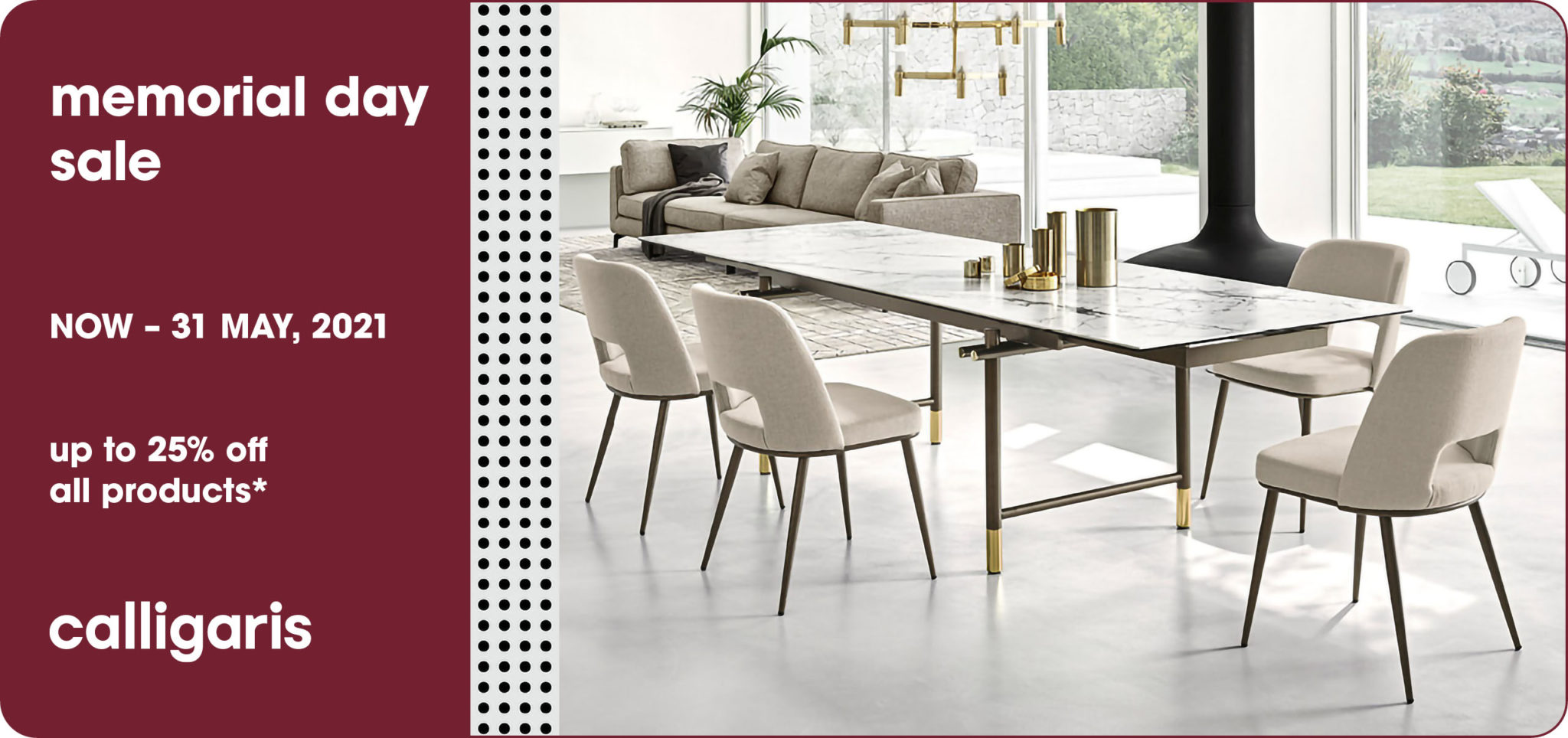 Take advantage of our Memorial Day sale for a limited time on elegant select Calligaris items.