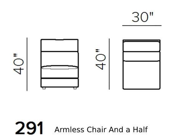 natuzzi editions giulivo C155 armless chair 1.5-seat schematics version 291