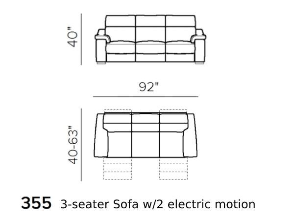 natuzzi editions giulivo C155 3-seater sofa with electric recliners schematics version 355
