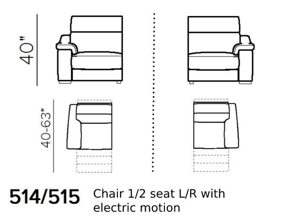 natuzzi editions giulivo C155 1.5-seat chair with electric recliner schematics 514 515