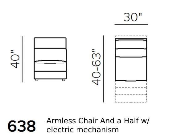 natuzzi editions Giulivo C155 1.5-seat armless chair schematics version 638