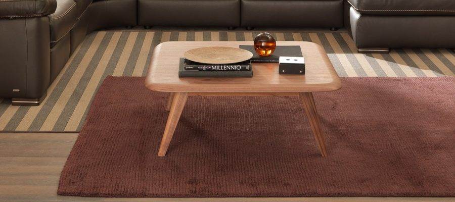 natuzzi editions Chianti T144 square corner table walnut room view