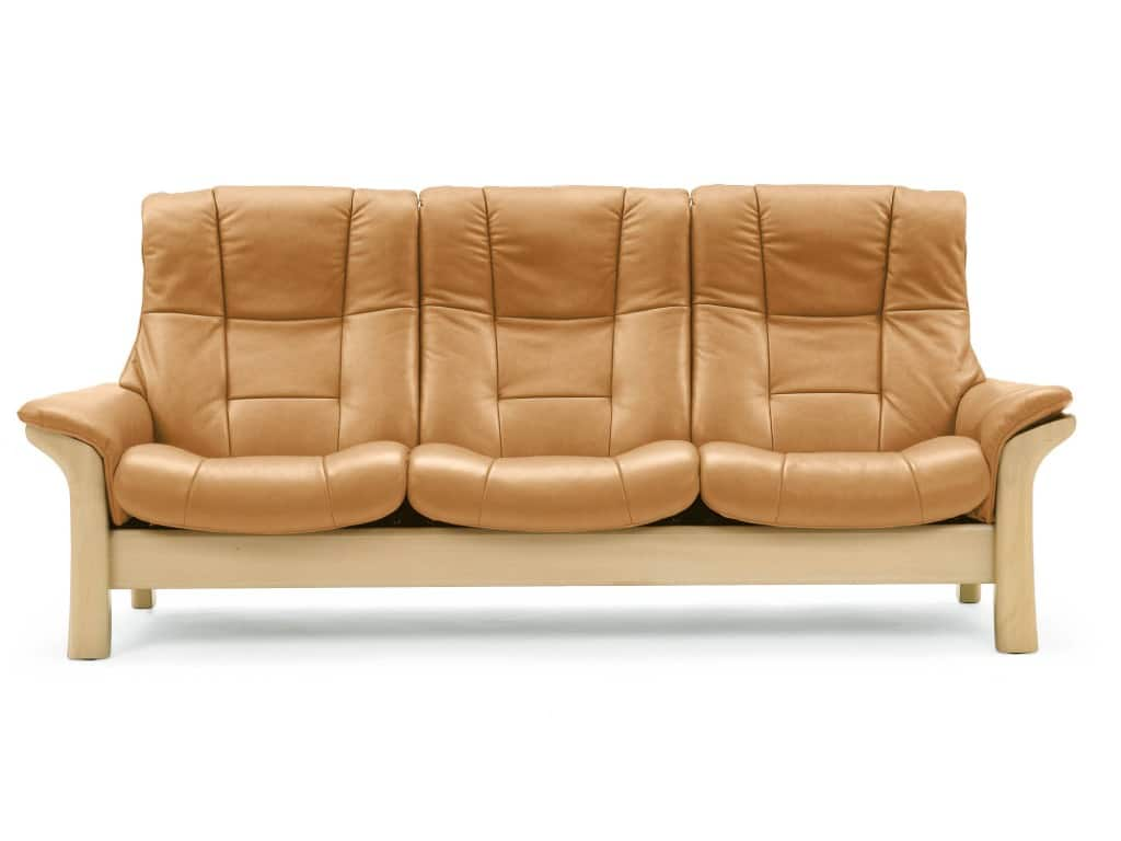 stressless buckingham 3-seat high-back sofa in tan color