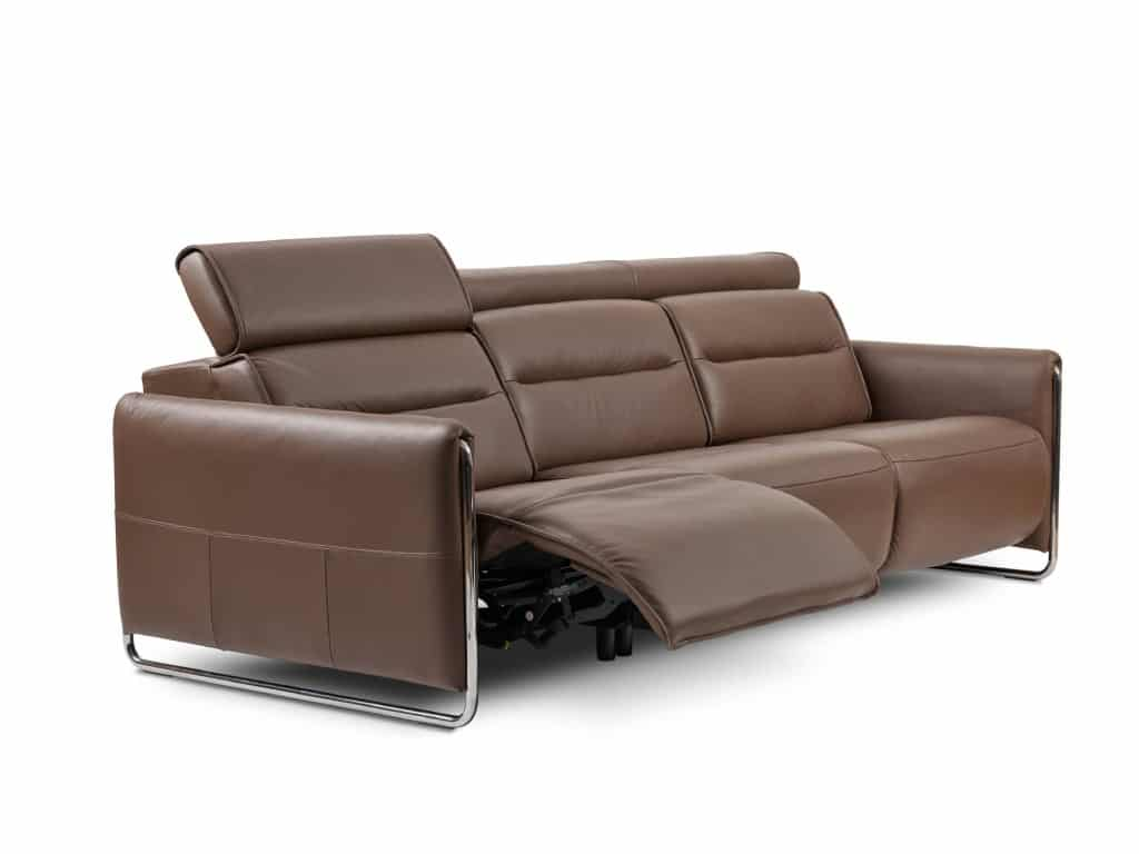 stressless emily 3-seat sofa with reclining function in paloma leather chestnut color and metal chrome finish