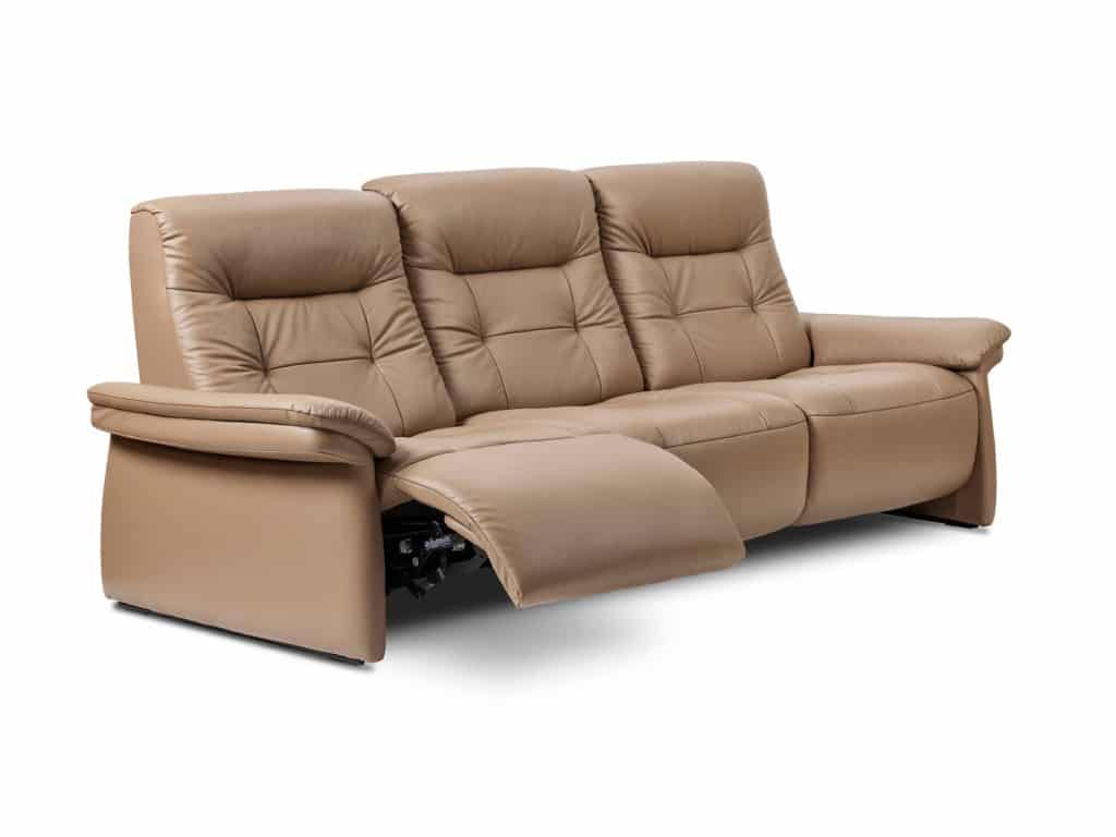 stressless mary 3-seat sofa in paloma leather funghi color and walnut wood finish