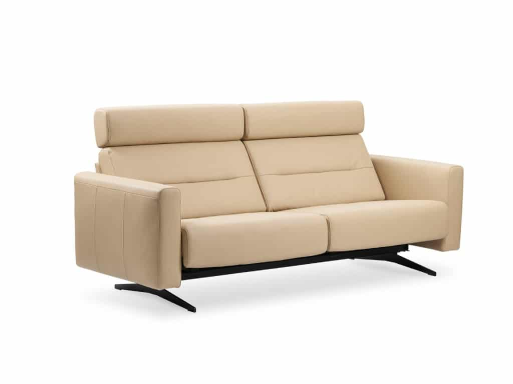 stressless stella 2,5-Seat sofa in Paloma leather Beige color and wide armrest and black leg finish