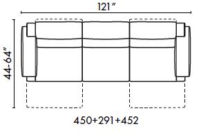 schematics for Natuzzi Italia Iago 3 cushion sofa with 2 recliners