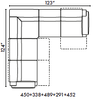 schematics for Natuzzi Italia Iago 5-piece sectional with 3 recliners