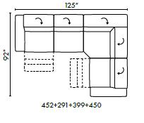 Natuzzi Italia Balance 4-piece sectional with 2 recliners