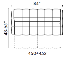 schematics for Natuzzi Italia Philo 2-cushion sofa with recliners