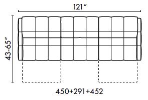 schematics for Natuzzi Italia Philo 3-cushion sofa with 2 recliners