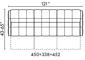 schematics for Natuzzi Italia Philo 3-cushion sofa with 3 recliners