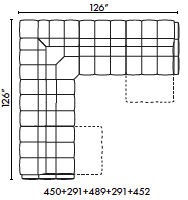 schematics for Natuzzi Italia Philo 5-piece sectional with 2 recliners