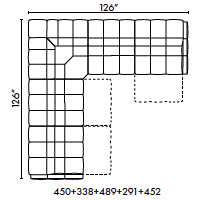 schematics for Natuzzi Italia Philo 5-piece sectional with 3 recliners